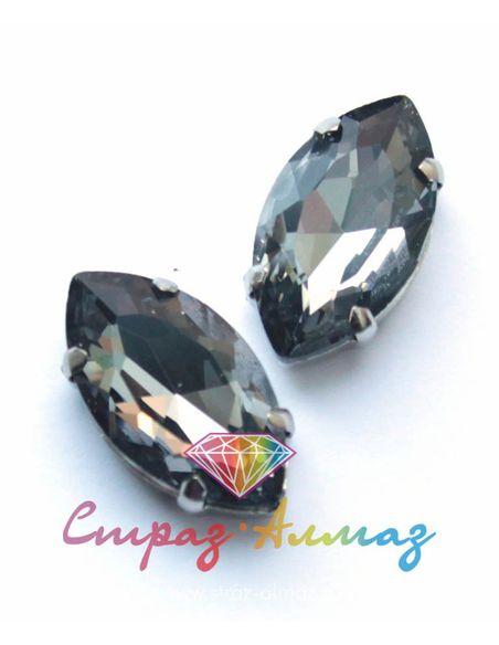 Маркиза в цапах, 17х32 мм., черный бриллиант