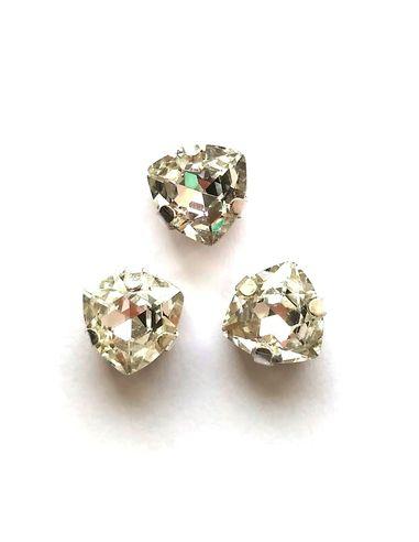 Триллиант в серебристых цапах качество люкс, 7 мм., цвет 101, кристалл