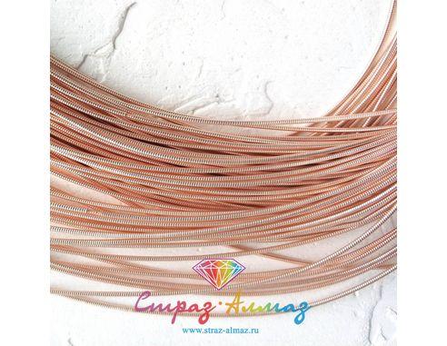 Канитель К41 жесткая розовое золото 1 мм.