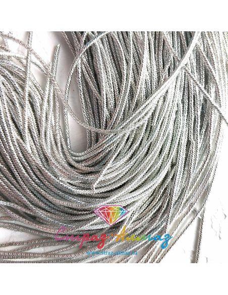 Канитель витая бамбук К45 серебро, 1.2 мм.