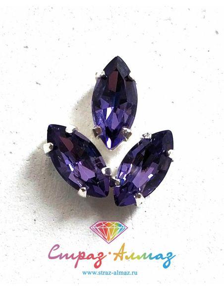 Лодочка в серебристых цапах качество люкс, 5х10 мм., цвет 119, фиолетовый