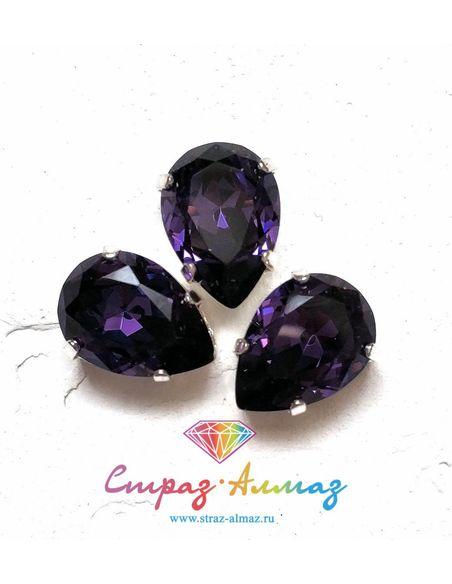 Капля в серебристых цапах качество люкс, 10х14 мм., цвет 119, Фиолетовый