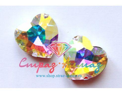 Сердце в цапах, 27х27 мм., кристалл АВ.
