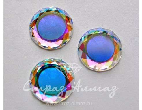 Круг-зеркальце 25 мм. полупрозрачный, кристалл АВ