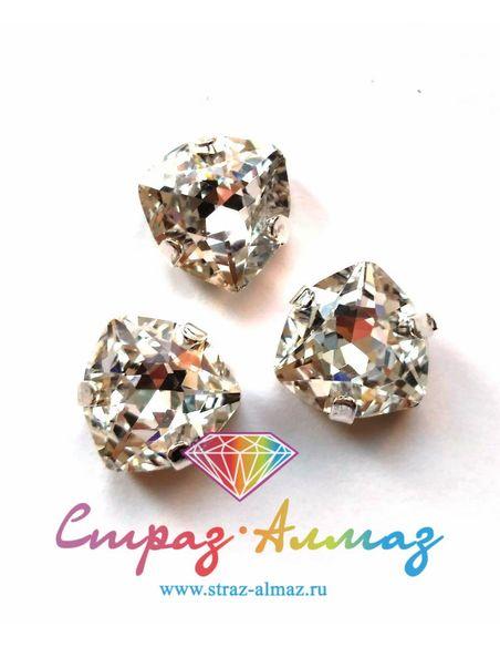 Триллиант в серебристых цапах качество люкс, 12 мм., цвет 101, кристалл