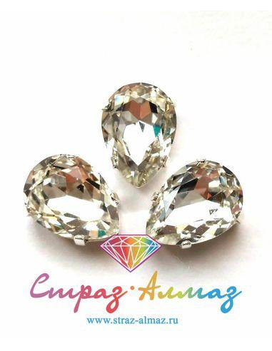 Капля в серебристых цапах качество люкс, 10х14 мм., цвет 101, кристалл