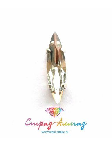 Сфинкс в серебристых цапах качество люкс 4х15 мм., цвет 101, кристалл