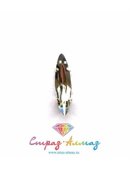 Сфинкс в серебристых цапах качество люкс 4х15 мм., цвет 102, блэк даймонд