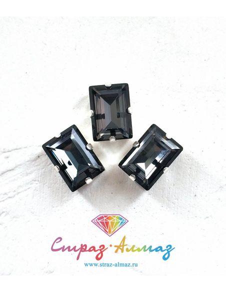 Прямоугольник в серебристых цапах качество люкс, 10х14 мм., цвет 001, графит