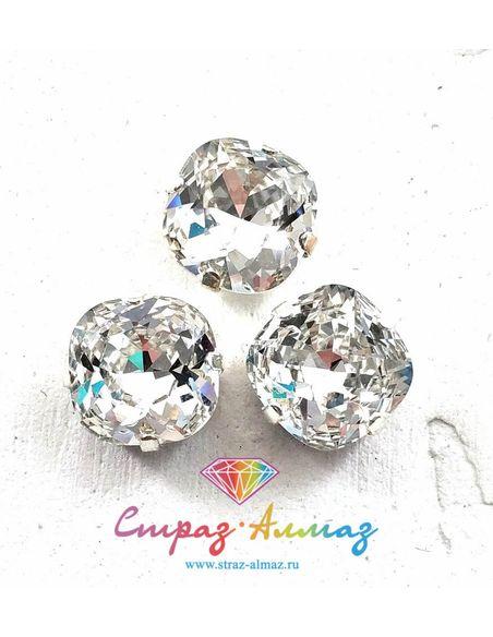Квадрат скругленный в серебристых цапах качество люкс, 10 мм., цвет 101, кристалл