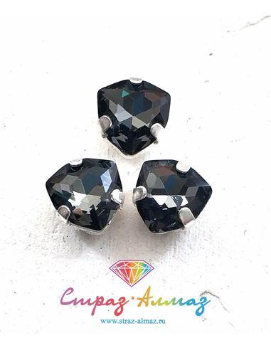 Триллиант в серебристых цапах качество люкс, 7 мм., цвет 001, графит