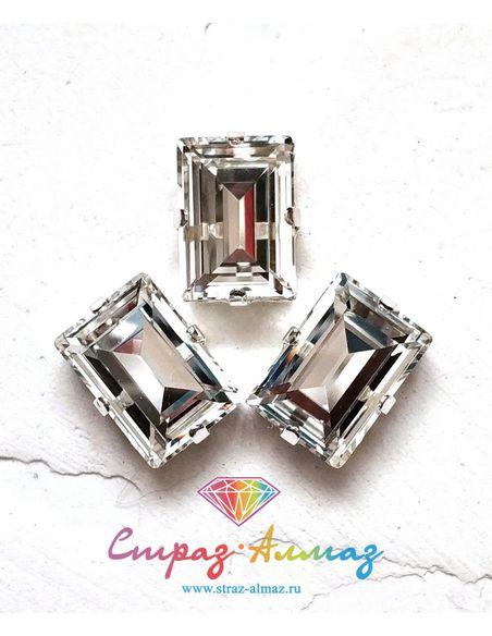 Прямоугольник в серебристых цапах качество люкс, 10х14 мм., цвет 101, кристалл