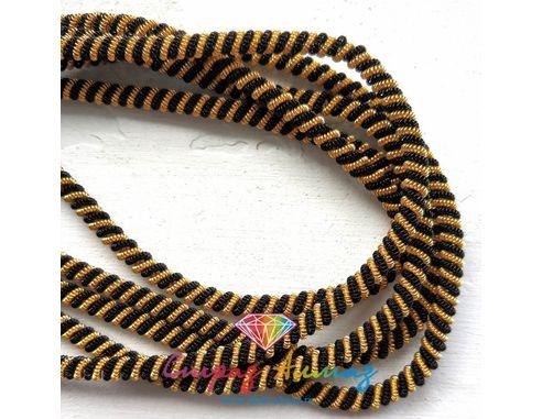 Канительный шнур К70 черный-золото 4 мм.