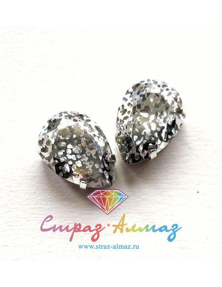 Капля в серебристых цапах качество люкс, 13х18 мм., П7, цвет Патина серебро