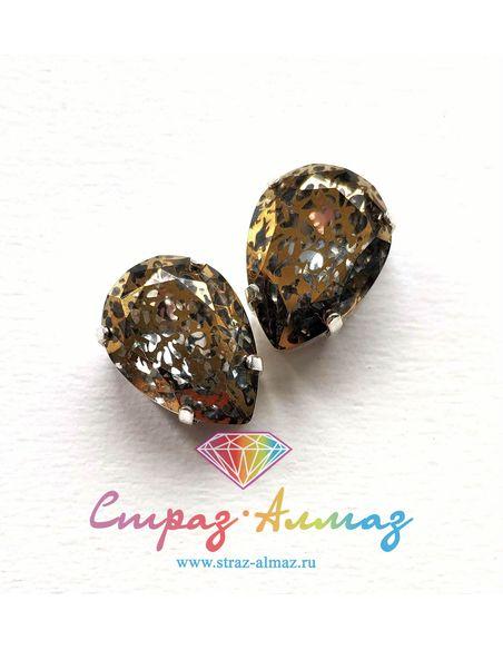 Капля в серебристых цапах качество люкс, 13х18 мм., П8, цвет Патина золото