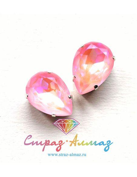 Капля в серебристых цапах качество люкс, 13х18 мм., ДЛ24, цвет Розовый ДЛ