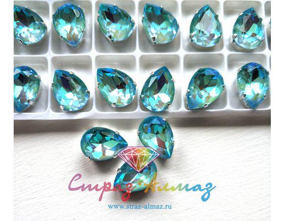 Капля в серебристых цапах качество люкс, 10х14 мм., цвет ДЛ18 голубой ДЛ