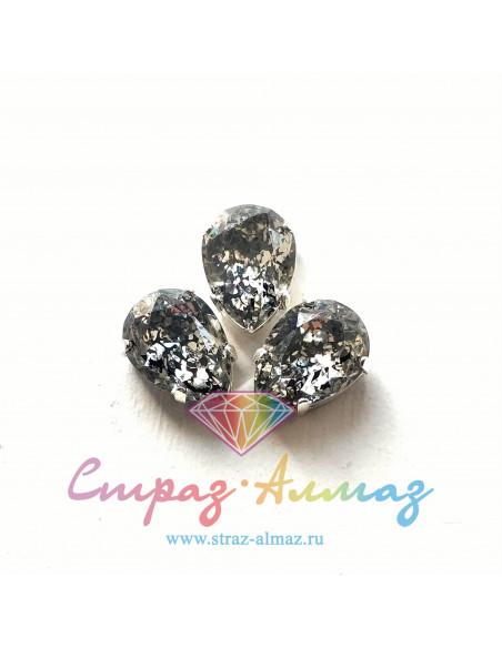 Капля в серебристых цапах качество люкс, 10х14 мм., П18 цвет Патина гематит