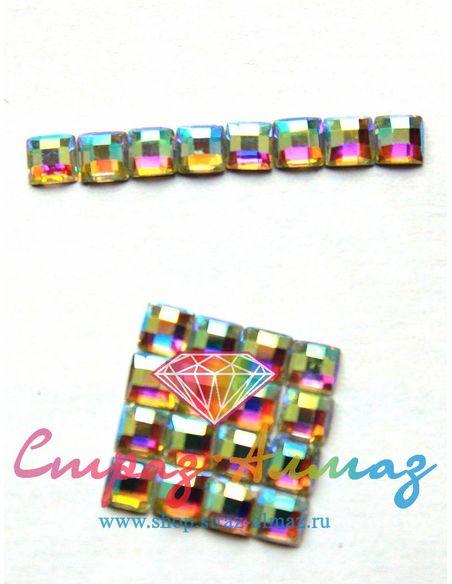 Квадрат шахматка, 6 мм., кристалл АВ.